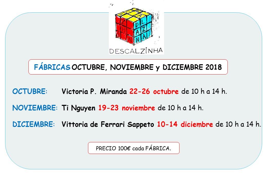 FÁBRICAS octubre, noviembre y diciembre 2018